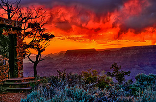 Stormy Sunset at the Watchtower in Grand Canyon National Park